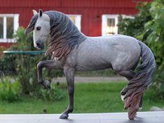 2016. Custom painted Traditional size resin horse Matador (Stacey Tumlinson) loose mane version to mulberry dapple grey. Custom by Zane Lahdenranta ( Frosty Birch Studio)