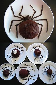 Spider Cupcakes for Halloween.  Pinner: LOVE this idea!!  You could make the legs out of chocolate-covered pretzels (just lay two together at an angle and let the chocolate harden on wax paper), or black shoestring candy, or even pipe cleaners to glue/stick to the underside of the cupcake wrappers.  Some fun white candies (M? Mini-marshmallows?) could be used for a cluster of eyes