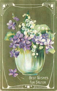 Easter~Lily of Valley~Violets~​Clear Glass~White Art Nouveau~Lime Back~Germany