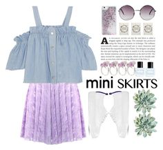 """""""#miniskirt"""" by alisa-hxm ❤ liked on Polyvore featuring Steve J & Yoni P, Marc Jacobs, Skinnydip, Monki, Chronicle Books and MINISKIRT"""