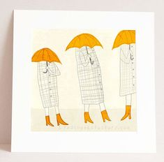 giclee print  trio umbrella  Illustration  by RedCheeksFactory, €30.00