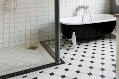 Black And White Tile Floor Bathroom Design I Like It On A Diagonal
