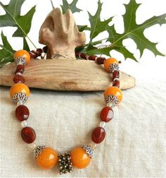 Necklace with Old Yemen Silver Grain Open Work Amber Resin Beads