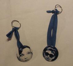 Portachiavi Audrey Hepburn Bottone Blue by LaRossaNelBosco #italiasmartteam #etsy