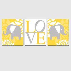 Modern Elephant Love Trio  Set of Three 11x14 Nursery by Tessyla, $59.50