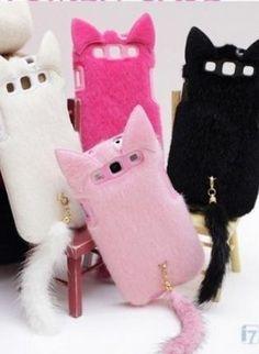 Cute Chic Furry Cat Head w/Tail Samsung Galaxy S3 i9300 Case