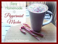 This homemade peppermint mocha is so easy and tasty that you'll want to make it everyday! - Joyful Thrifty Home
