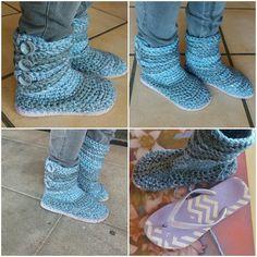 Flip flop Slipper boots #flipflops #slippers #crochet Slippers Crochet, Flip Flop Slippers, Slipper Boots, Flip Flops, Fun, Crafts, Shoes, Fashion, Moda