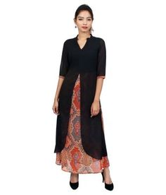 d7e80539493 Buy Ak Fashion Multi Georgette Maxi Dress Online at Best Prices in India -  Snapdeal