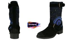#Desigual Schuhe Stiefel - Modell Biker. Muster: ethnisch, und Mandala, schwarz. Mit 2 Schnallen.