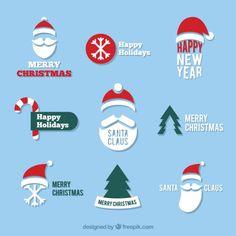 Variety of santa claus badges Free Vector