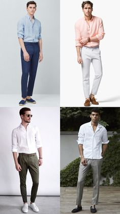 Men's Long Sleeved Shirts with Tailored Trousers - Summer Fashion/Style Outfit Inspiration Lookbook