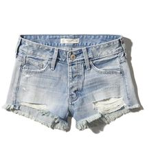 Abercrombie & Fitch Low-Rise Boyfriend Shorts ($32) ❤ liked on Polyvore featuring shorts, bottoms, abercrombie, light wash, ripped shorts, cut off shorts, destroyed shorts, low rise short shorts and short shorts