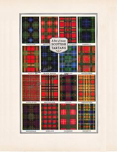 Scottish Tartans, a printable digital image for crafts and scrapbooking. #scottishtartans #vintageimages #digitalimages
