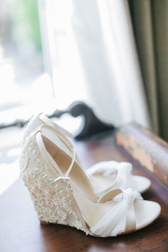 Walkable and pretty: With pretty wedges like this, you won't have to decide between gorgeous details and achy feet. Photo by Amy & Stuart Photography via Style Me Pretty More