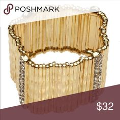 Gold Hammered Bar & Pave Crystal Bracelet Material content: 18 k gold plated,metals, glass, Crystals, Nickel,  free and lead free. So beautiful ❤ T&J Designs Jewelry Bracelets