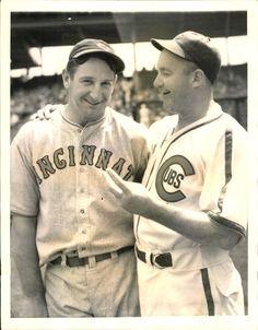 baseballsgoldenage:    National League Catchers! Gabby Hartnett of the Chicago Cubs with Ernie Lombardi of the Cincinnati Reds. 1938 .