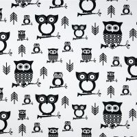 Fabric with Owls Hooty Black and White made by Premier Prints Inc Owl Fabric, Retro Fabric, Novelty Fabric, Pillow Fabric, Fabric Decor, Cotton Fabric, Fabric Shower Curtains, Drapery Fabric, Black And White Owl