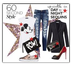 Daytime Sequins by istyled on Polyvore featuring polyvore, fashion, style, Markus Lupfer, Elizabeth and James, Current/Elliott, Stokton, Christian Louboutin, Prada, Sally Hansen, women's clothing, women's fashion, women, female, woman, misses, juniors, DayToNight, contest, denim, Sequins and DenimStyle
