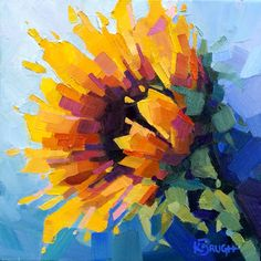A Sunny Delight di Kelley Brugh - Oil Painting Flowers, Abstract Flowers, Flower Artwork, Arte Floral, Images D'art, Sunflower Art, Inspiration Art, Small Paintings, Fine Art