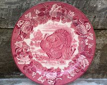 "Enoch Wood's Burslem Turkey Dinner Plate Red Transferware 10"", Serving, Wall Decor, English Transferware"