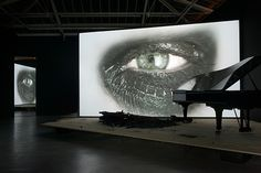 DOUGLAS GORDON Phantom, 2011 Video Installation: a stage, a screen, a burnt steinway piano, a black steinway piano and a monitor - Yvon Lambert Gallery Douglas Gordon, Andrew Cooper, Human Body Parts, Video Installation, Stage Set, The Conjuring, Video Photography, Cool Art, Contemporary Art