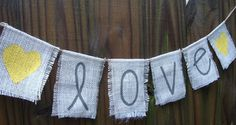 Yellow and grey burlap love banner  photo by whatsyoursigndesigns, $14.00