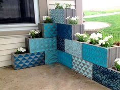 Stenciled cinder blocks planter