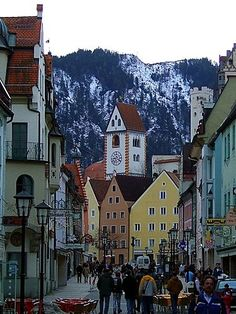 Fussen, Germany...just a short train ride from Munich, and oh so beautiful!! Show on the mountains in May!