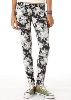 Black and White Floral Skinny Jean from Delia's