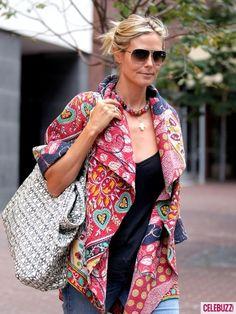 Heidi Klum's patchwork coat