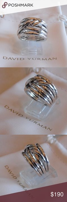 David Yurman New Continuance Cable Band Ring Sz 6 New without tags David Yurman Continuance Sterling Silver ring size 6. No signs of wear. Comes with a David Yurman white pouch in excellent condition.  Hallmarked copyright symbol D.Y. 925.  Face measures 14mm wide. The hallmark is small and hard to see especially if held up to the light because is it so shiny. I recommend placing the ring flat on a table and sit in a chair to view the inside of the ring while keeping it on the table to avoid…