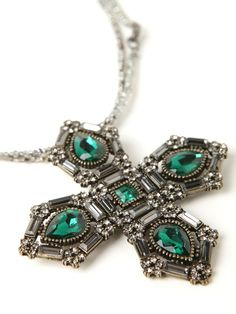 Crystal Necklace With Cross Pendant