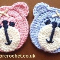Free crochet pattern teddy bear face applique