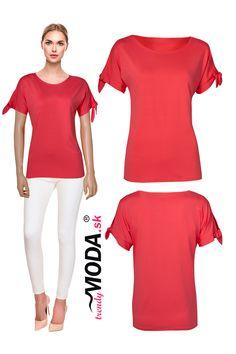 Trendy červené letné dámske tričko so štýlovými viazačkami Trendy, Jar, Jars, Glass