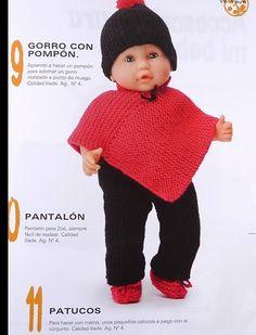 Estos gráficos los encontré, así que los comparto con todas vosotras: Aquí el patrón a seguir del poncho: El patrón del gorrito: ... Knitted Poncho, Knitted Dolls, Knit Crochet, Crochet Hats, Bitty Baby, Baby Born, Christmas Baby, Knitting Stitches, Kids Wear