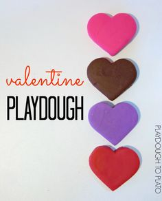 Candy heart, chocolate, lavender and rose homemade playdough recipe. Valentines Day Activities, Valentine Day Crafts, Holiday Crafts, Valentine Ideas, Saint Valentine, Play Doh Fun, Pretend Play, Play Dough, Playdough To Plato