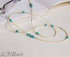 Eyeglasses Chain With Turquoise Sterling Silver by NMBeadsJewelry