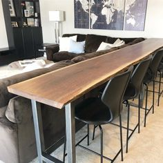 home theater rooms basements Live Edge Sofa Table Home Bar Table Etsy amp; live edge sofa tisch home stehtisch etsy Couch Table, Sofa Tables, Bar Table Behind Couch, Modern Sofa Table, Long Sofa Table, Dining Chairs, Console Table, Ikea Sofa Table, High Table And Chairs