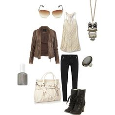 downtown, created by bootaholic138 on Polyvore, love the boots, jacket, necklace, and purse.