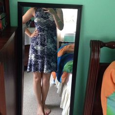 Flowly Navy and White Printed Dress Has never been worn! one clothing Dresses
