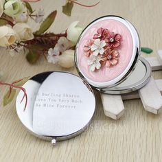 Personalized Favors - $9.49 - Personalized Flower Design Chrome Compact Mirror With Diamond Rhinestone (118031891) http://jjshouse.com/Personalized-Flower-Design-Chrome-Compact-Mirror-With-Diamond-Rhinestone-118031891-g31891