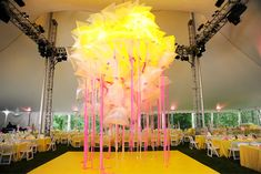 8/10/2012: On July 28, some 1,200 guests headed out to the Watermill Center in the Hamptons for the art organization's annual benefit, one of the season's biggest draws for philanthropists. Inside the dinner tent a chandelier positioned over the dance floor was made up of plastic recycling bags and pink fabric streamers. Photo: Billy Farrell / www.BFAnyc.com