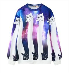 Harajuku galaxy cat fleece
