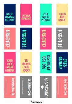 Estampas imrpimibles para mantener tu agenda o planeador organizado. De colores y en español.