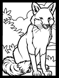 Fox coloring book page