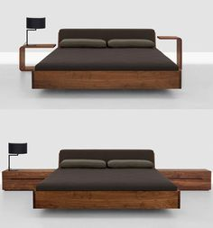 Wood Beds - Fusion bed with upholstered headboard by Zeitraum Sweet dreams can be yours every night in this solid wood bed by Zeitraum. More than just a bed, the Fusion bed with an upholstered headboard is a statement.