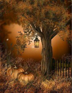 Halloween  Autumn  woods  lantern  pumpkins photo / painting art ;)    ♡