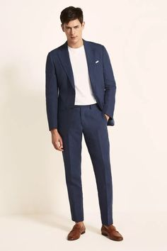 Tailored Fit Green Linen Suit Big And Tall Suits, Mens Big And Tall, Crisp White Shirt, White Tees, Tan Loafers, Smart Outfit, Linen Suit, Oxford White, Linen Jackets