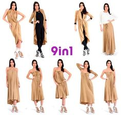 9 in 1 Nomad Fashion, All Fashion, Boho Fashion, Vestido Convertible, Convertible Clothing, Clothes Crafts, Sewing Clothes, Travel Dress, Infinity Dress